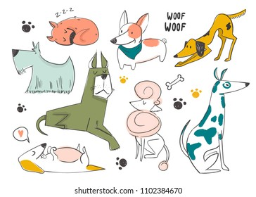 Hand drawn cartoon style dogs. Colored vector set