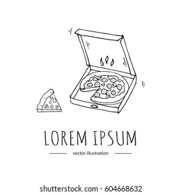 Hand drawn cartoon style doodle Hot pizza in the box and separated piece of pizza icon. Vector illustration. Fast food delivery company. Fresh pizza with ingredients symbol. Freehand element. Sketch.
