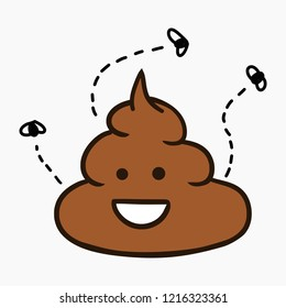 Hand drawn cartoon style illustration of funny poop with flies - vector editable graphic isolated on white background