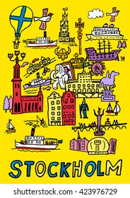A hand drawn, cartoon style illustration of Stockholm, Sweden.