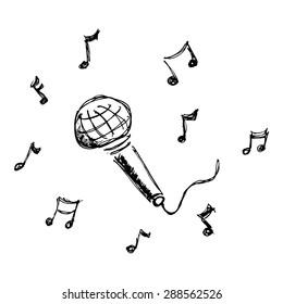 Hand drawn cartoon style microphone design