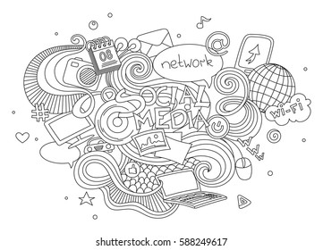 Hand drawn cartoon vector doodle illustration set of social media sign and symbol elements. Isolated on white background.
