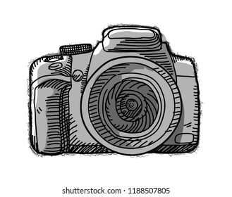 Hand drawn cartoon vector illustration of a mirrorless pocket camera DSLR