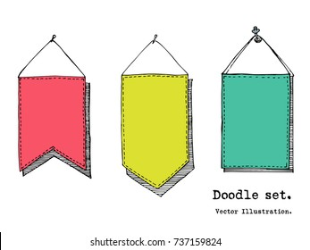 Hand drawn cartoon vector set of banner, flag , poster pinned to the wall . Header mockup, sketchy template. Paper sheet, tag, sticky note. Doodle style illustration. Collection of doodle icons