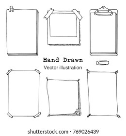 Hand drawn cartoon vector set of paper sheet, folder, sticky note, bundle of paper, poster. Paper page with pin, tape and paperclip sketch. Simple Doodle style illustration. Collection of icons