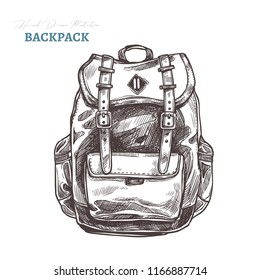 Hand drawn casual fashion backpack. Isolated vector illustration in sketch engraving style. Hipster bag