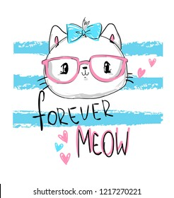 Hand drawn cat with blue glasses. Print design children t-shirt.