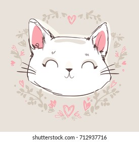 Custom Made T Shirt Adorable Kitty Cats Cat Hugging Butterfly Heart Mouse Floral
