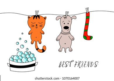 Hand drawn cat and dogs. Cat and dog grooming. Can be used for child card, print, cartoon character, pet shop.