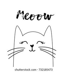 Hand drawn cat looking up to meow lettering text.  Cute cartoon character. Kawaii animal. Love Greeting card. Flat design style. White background. Isolated. Vector
