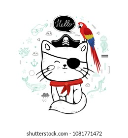 Hand drawn cat pirate with ara parrot. Cute vector illustration. Kitten, pet, animal. Sea, ocean