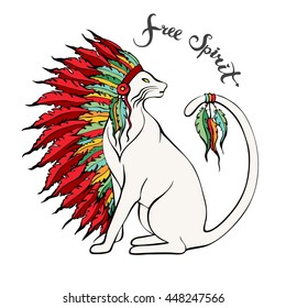 Hand drawn cat in war bonnet. Pets portrait with native American Indian chief headdress. Doodle animal in tribal headdress. Free spirit lettering. Idea for t-shirt print. Vector illustration.
