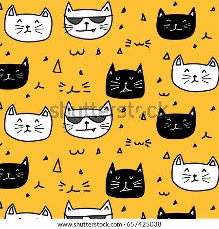 Hand Drawn Cats Vector Pattern Doodle Stock Vector Royalty Free