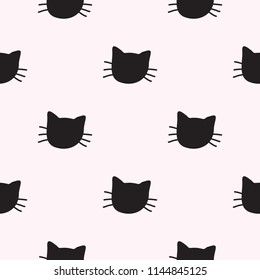 Hand Drawn Cats Vector Seamless Pattern. Doodle Cat Heads Endless Background for Trendy Fabric Textile Design or Web Wallpaper
