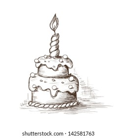Awe Inspiring Sketch Birthday Cake Images Stock Photos Vectors Shutterstock Funny Birthday Cards Online Alyptdamsfinfo