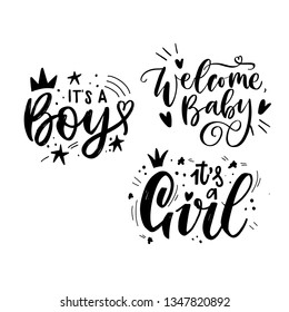 hand drawn celebration lettering for newborn phrases welcome baby, its a boy, its a girl. for desigm cards, banners and any other stuff for baby. black text