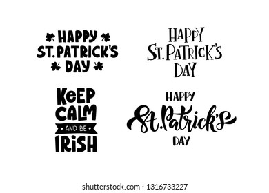 Hand drawn celebration lettering set. Saint Patrick's day festival. Template for greeting card, banner, invitation, postcard, flyer, typography poster. Vector illustration isolated on white background