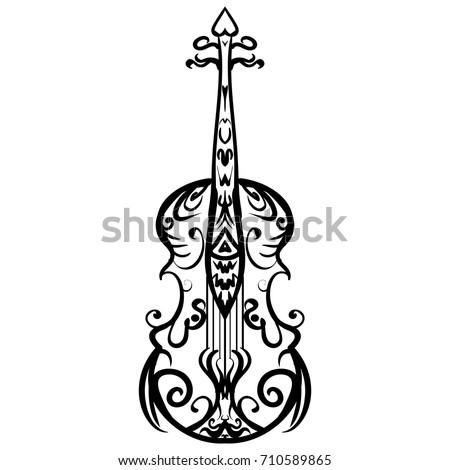 Imagenes Tatuajes Violin hand drawn cello sketch symbol vector stock vector (royalty free