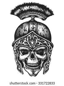 Hand drawn centurion skull in galea helmet. Vector illustration