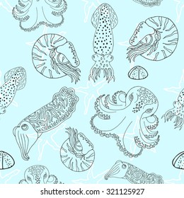 Hand drawn cephalopods seamless pattern. Blue background vector octopus, squid calmar, nautilus and cuttlefish.