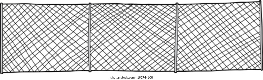Hand drawn chain link fence background on white