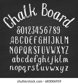 Hand drawn chalk board alphabet font. Upper and lower case letters and numbers on a distressed background. Retro vector typeface for your design.