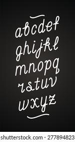 Hand drawn chalk board cursive font. Vector alphabet