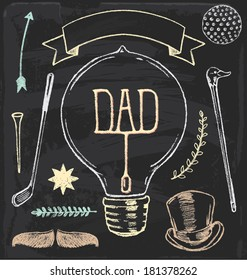 Hand Drawn Chalk Father's Day Elements Vector Set