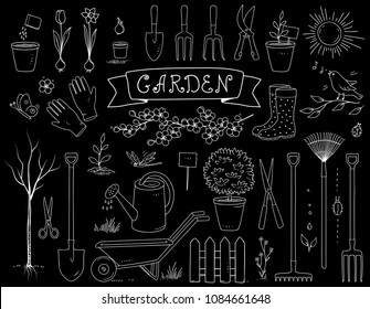 hand drawn chalk garden tools set with spring plants and equipment