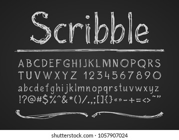 Hand drawn chalk letters numbers and symbols. Alphabet on a chalkboard. Eps8. RGB. One global color. Each elements are grouped separately