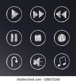 hand drawn chalk on blackboard media player buttons set
