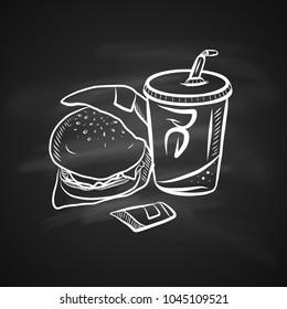 Hand Drawn Chalk Sketch on Blackboard of Tasty Fast Food. Vintage Sketch. Label