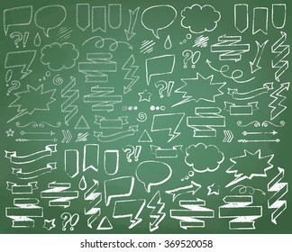Hand Drawn Chalkboard Doodles including bubbles, arrows, banners, emotions & decorative elements. Vector Collection of Chalkboard Style Banners, Ribbons and Frames. Comic Speech.