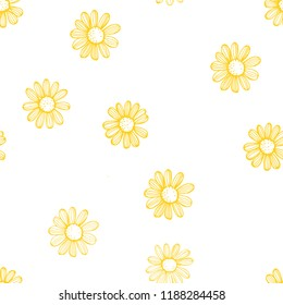 Hand drawn chamomile flowers on white background .Vector  seamless pattern