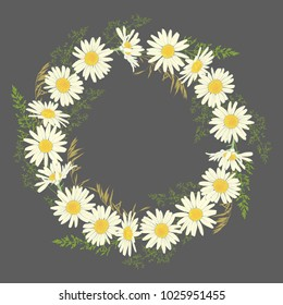 Hand drawn Chamomile flowers wreath on grey background. Spring summer decor frame. Vector illustration. Design element for invitations, greeting cards, cosmetic and other.