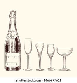 Hand drawn champagne bottle and glass. Engraving style on white background. Isolated objects. Vector illustration