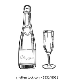 Hand drawn champagne bottle and glass with champagne. Vector template.