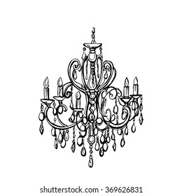 Hand drawn chandelier on white background. Sketch drawn chandelier with candles. Isolated chandelier. Chandelier icon. Vector illustration.