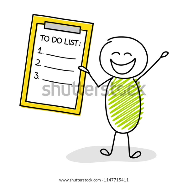 Hand drawn character showing to do list. Vector.