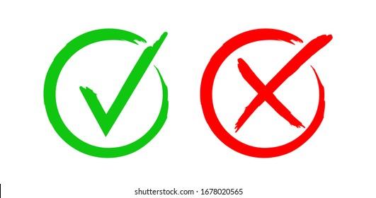 Hand drawn check mark icon. Vector illustration.