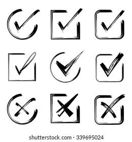 hand drawn check mark icons vector