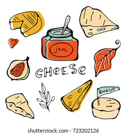 Hand drawn cheese collection
