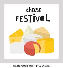 Hand drawn cheese collection including feta, mozzarella, swiss, roquefort, edam, maasdam, parmesan, cheddar, brie, ricotta Illustration with cheese for menu store shop restaurant festival