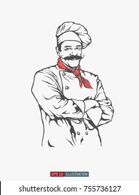 Hand drawn chef. Smiling male character. Engraved style vector illustration. Template for your design works.