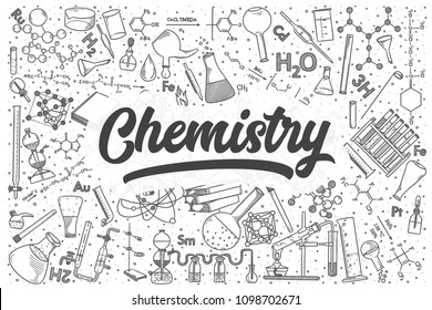 Hand drawn chemistry doodle set. Lettering - Chemistry