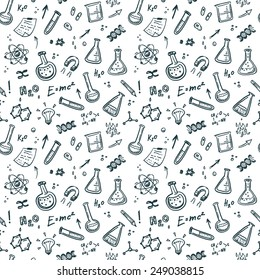 Hand Drawn Chemistry seamless pattern. Science background.