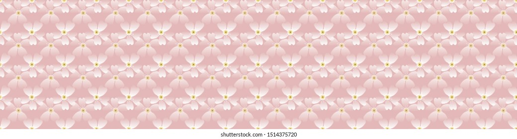 Hand drawn cherry blossom seamless border pattern. Japanese spring style geo tossed floral background. Soft pink neutral tones. Asian zakka garden ribbon trim home decor, stationery washi tape edging