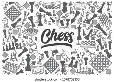 Hand drawn chess doodle set. Lettering - Chess