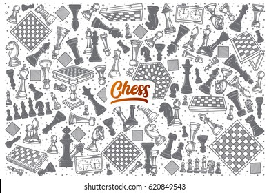 Hand drawn Chess doodle set background with orange lettering in vector