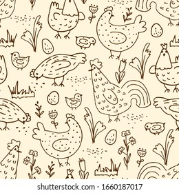 Hand drawn chicken and rooster seamless pattern. Funny cute nature doodles. Rural background. Organic poultry farm. Vector isolated cartoon birds, eggs and floral elements.